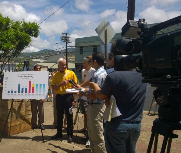 Thursday, July 10, Mayor Kirk Caldwell in a Press Conference about the completion of the road repaving of Waiale Avenue. Which was made possible by the collaboration of many and Councilmember Chang's persistent interest in road improvement projects.